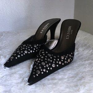 Sesto Meucci pointed toe embellished mules size 7